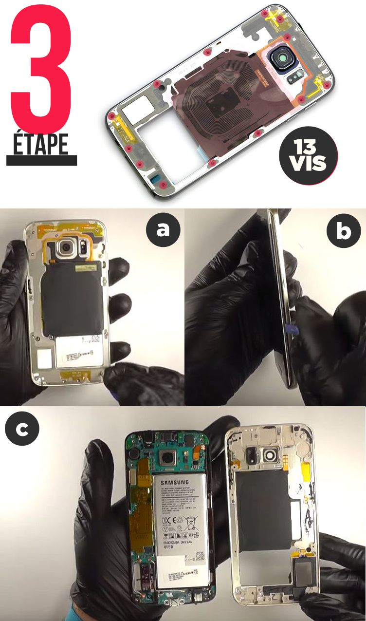 Remplacement écran complet Samsung Galaxy S6 Edge Etape 3 Tutoriel chassis central