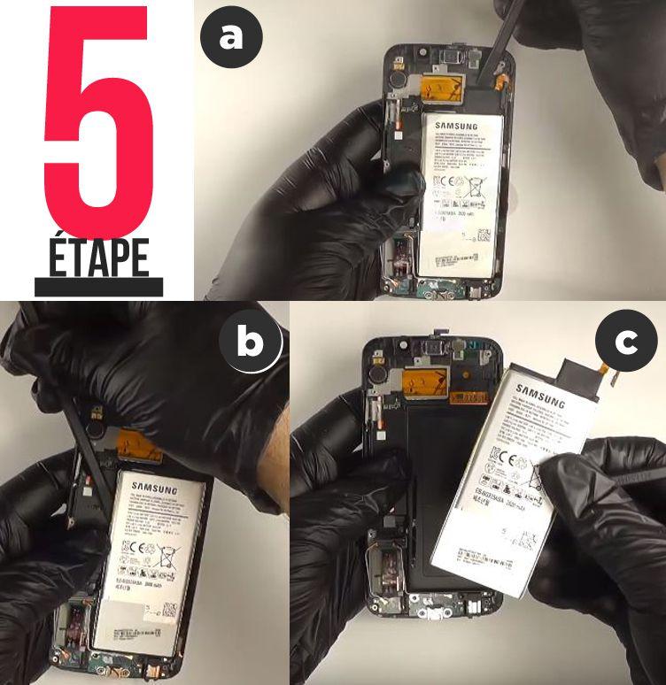 étage 5 Remplacement écran complet Samsung Galaxy S6 Edge décollage batterie