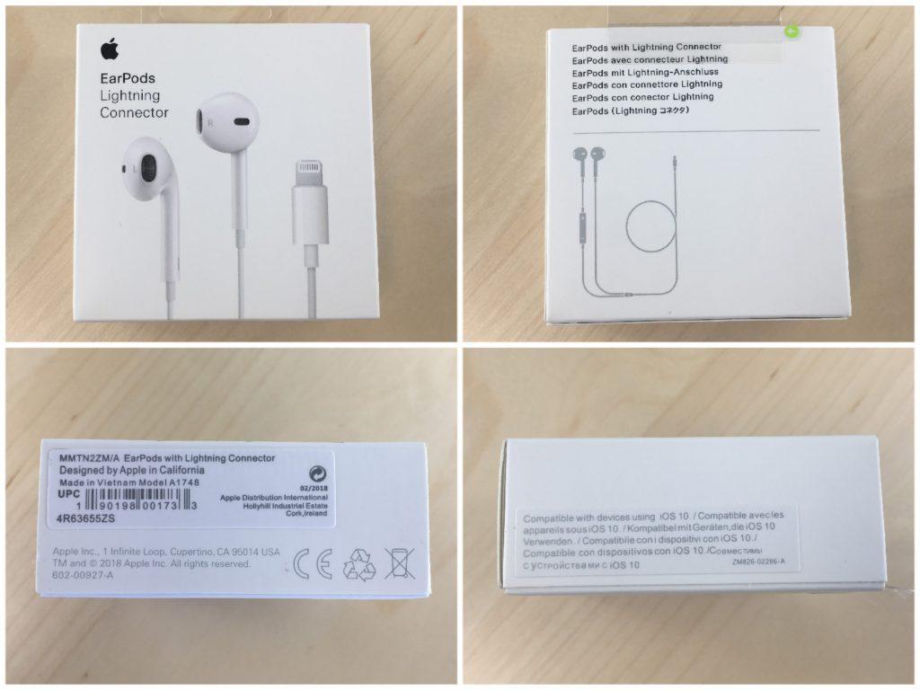 Reconnaître de faux écouteurs Apple Earpods Lightningen vérifiant l'emballage