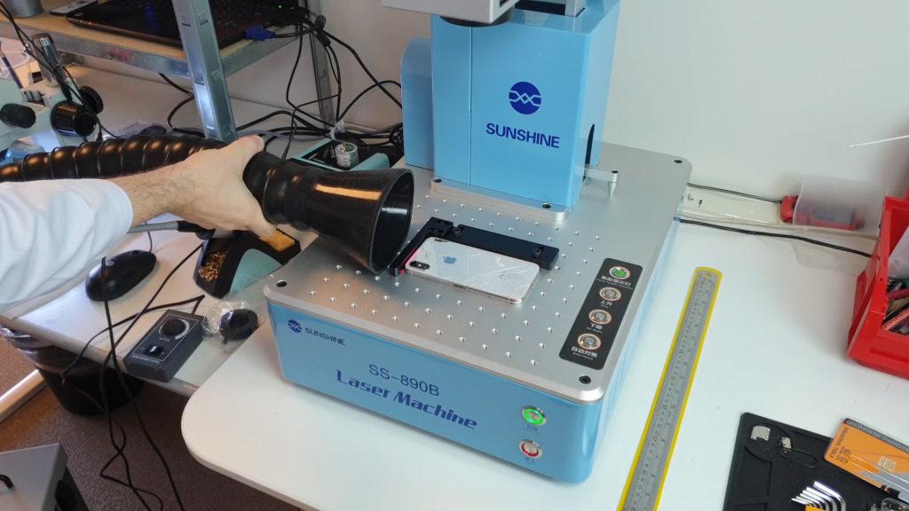 Sunshine SS-890b  un laser pour réparer un iPhone X systeme de filtration quick 6601
